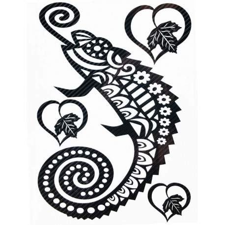 STICKERS  : caméléon tribal