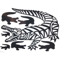 CROCODILE STICKERS EN CARBONE 6D pour interieur et exterieur, carrosserie, mural, etc...